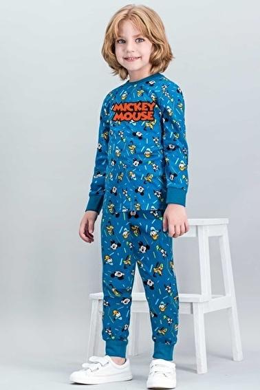 Mickey Mouse Mickey Mouse Lisanslı Kiremit Erkek Çocuk Pijama Takımı Yeşil